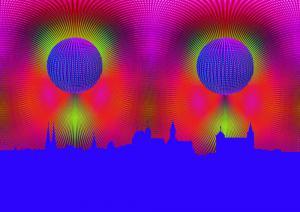14-3D-Kugel-3D-009i-Popart014l-Nürnberg009-Blau-Neu-Art
